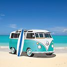 Hippie Split Window VW Bus Teal & Surfboard & Ocean by Frank Schuster