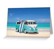 Hippie Split Window VW Bus Teal & Surfboard & Ocean Greeting Card