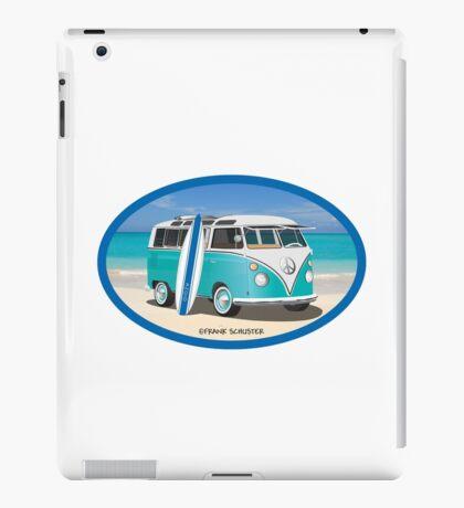Hippie Split Window VW Bus Teal & Surfboard Oval at Beach iPad Case/Skin