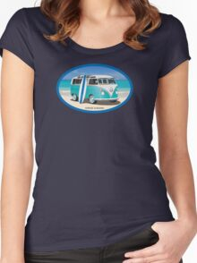 Hippie Split Window VW Bus Teal & Surfboard Oval Women's Fitted Scoop T-Shirt