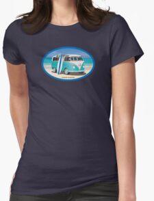 Hippie Split Window VW Bus Teal & Surfboard Oval Womens Fitted T-Shirt