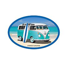 Hippie Split Window VW Bus Teal & Surfboard Oval Photographic Print