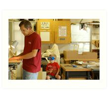 Men in the shop Art Print