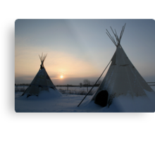 PLAINS CREE TIPI Metal Print