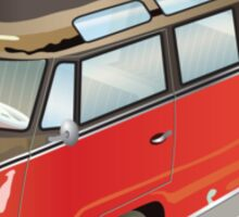 Split 23 Window VW Bus Red Black Old Style Sticker