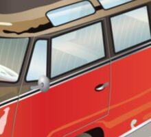Split 23 Window VW Bus Red Black Old Style Sticker
