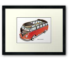 Split 23 Window VW Bus Red Black Old Style Framed Print