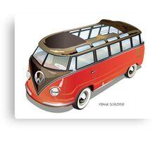 Split 23 Window VW Bus Red Black Old Style Canvas Print