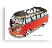 Split 23 Window VW Bus Red Black Old Style Canvas Print