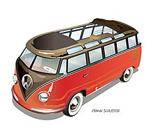 Split 23 Window VW Bus Red Black Old Style Photographic Print