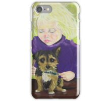 Beautician, girl grooming puppy dog iPhone Case/Skin