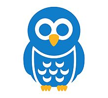 Blue comic owl Photographic Print