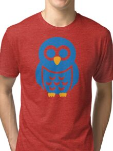 Blue comic owl Tri-blend T-Shirt