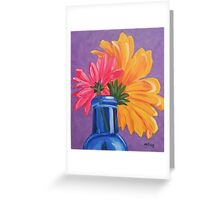 Blue Bottle with flower Greeting Card