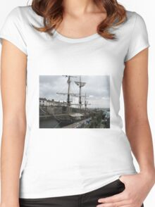 CLIPPER SHIP IN PORT AT CHARLESTOWN CORNWALL Women's Fitted Scoop T-Shirt