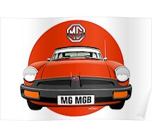MG MGB rubber bumper blaze red Poster