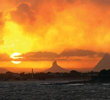 Sunset over Glasshouse by John Donatiu