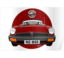 MG MGB rubber bumper damson red Poster