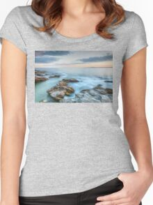 Rocky Sunset Seascape Women's Fitted Scoop T-Shirt