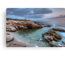 Beavertail Lighthouse at Sunset Canvas Print