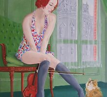 Distraction,girl plays with cat by Michael McEvoy