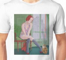 Distraction,girl plays with cat Unisex T-Shirt