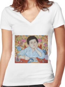 Double Take boy sketching Women's Fitted V-Neck T-Shirt