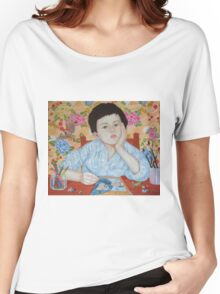 Double Take boy sketching Women's Relaxed Fit T-Shirt