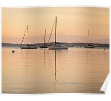 Sunrise Sailboats at Anchor Poster