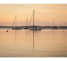 Sunrise Sailboats at Anchor Photographic Print