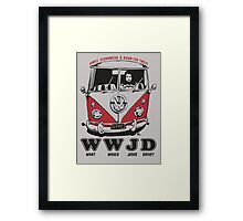 What Would Jesus Drive ? humble, economical & room for 12 Framed Print
