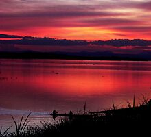Sunset by the Mekong by oddoutlet
