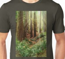 Sun Beams shining Thru the Redwood Trees Unisex T-Shirt