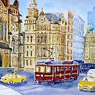 Tram in Latrobe Street, Melbourne by Virginia  Coghill