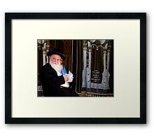 Rabbi and His Scrolls Framed Print
