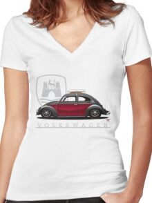 Black and Red Beetle Women's Fitted V-Neck T-Shirt