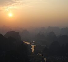 Sunrise in Guilin, China by sideways