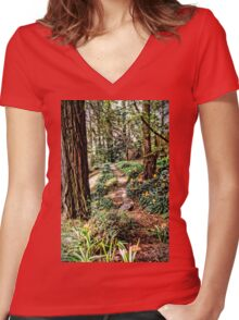 Lillies in the Redwoods Women's Fitted V-Neck T-Shirt