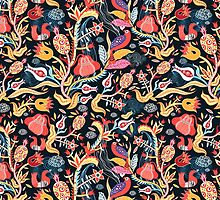 Bright floral pattern with birds by Tanor