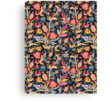 Bright floral pattern with birds Canvas Print
