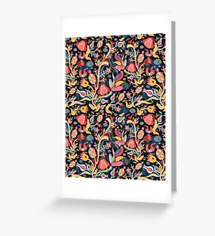 Bright floral pattern with birds Greeting Card
