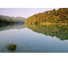 Autumn morning along the Rhone river Photographic Print