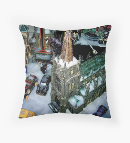 Snowfield Village Throw Pillow