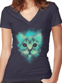 Cosmic Cat Women's Fitted V-Neck T-Shirt
