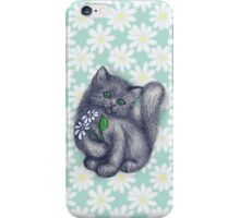 Cute Kitten with Daisies iPhone Case/Skin