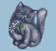 Cute Kitten with Daisies Kids Clothes