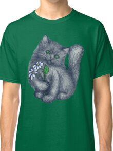 Cute Kitten with Daisies Classic T-Shirt