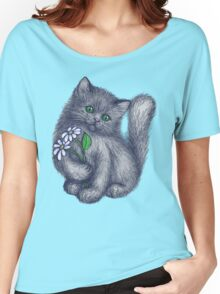 Cute Kitten with Daisies Women's Relaxed Fit T-Shirt