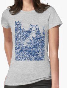 Garden Cat Doodle Womens Fitted T-Shirt