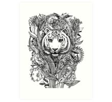 Tiger Tangle in Black and White Art Print